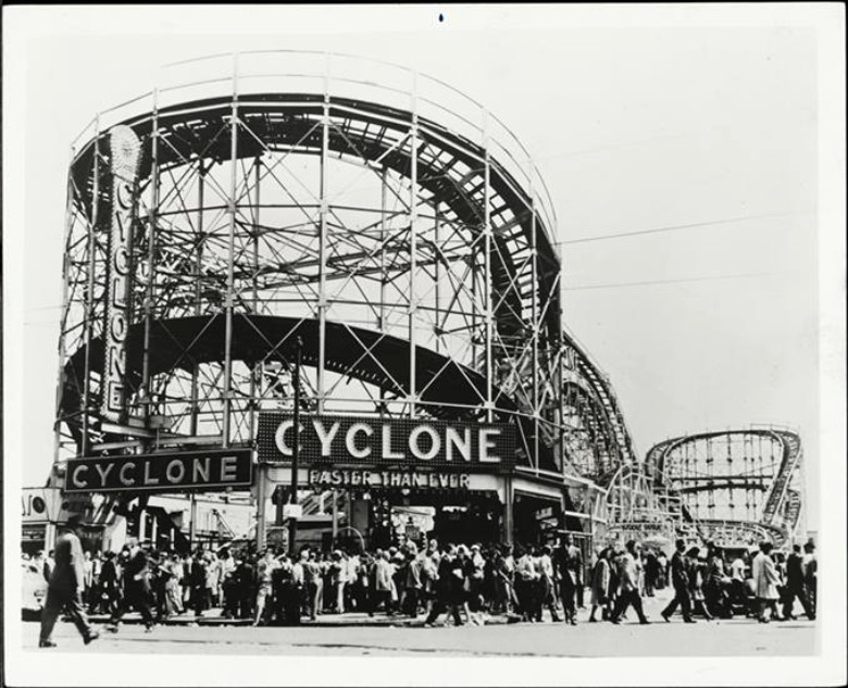 The Cyclone (1935). Image: The Museum of the City of New York from  sqft.com/90-years-ago-today-coney-islands-iconic-cyclone-roller-coaster-opened/
