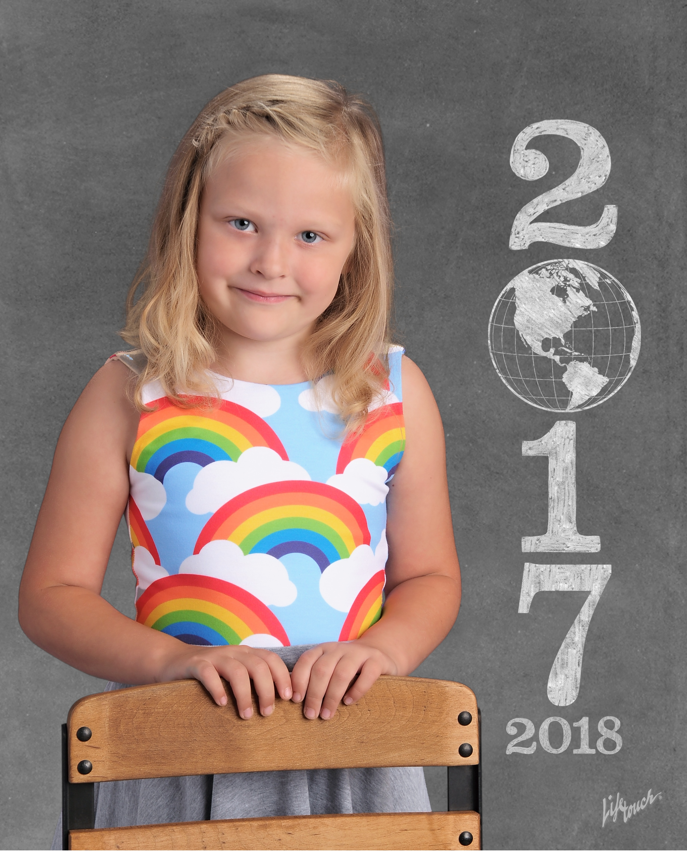 My favorite school photo of her in Mali + Kai - I will never forget my Grandma telling me over and over how adorable she looked in her rainbow dress :)