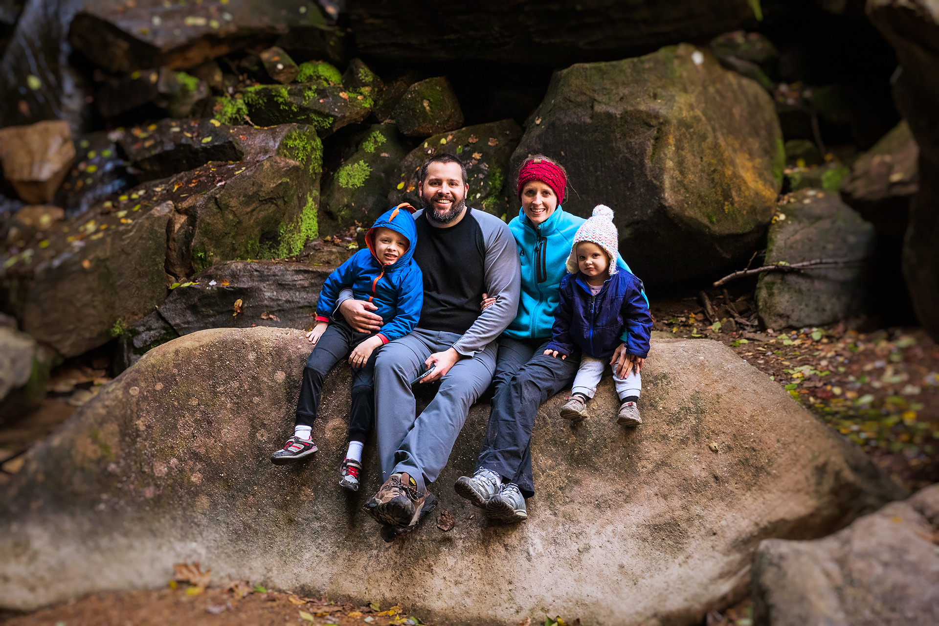 Hiking with my family in Hocking Hills.
