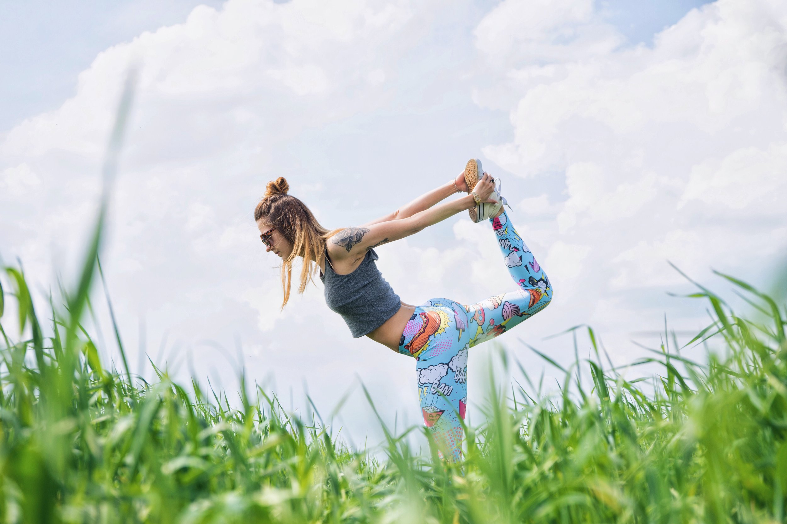 Yoga, flexibility, and stress relief while outside