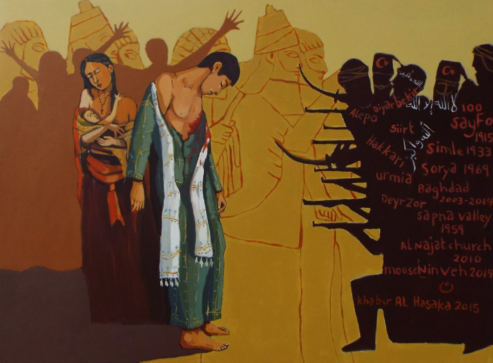 A painting of Assyrian Genocide by Assyrian Artist,    Paul Batou
