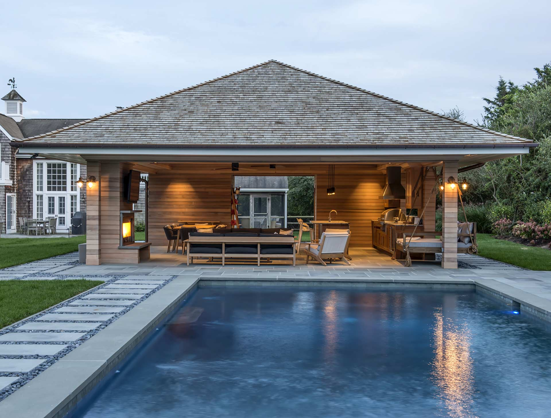 Pavilions - Imagine if you remove the walls from your house…that's a pavilion! With an open floor plan seamlessly connecting kitchen, dining, and living spaces, pavilions provide the creature comforts and innovations you've typically only seen in the main house.
