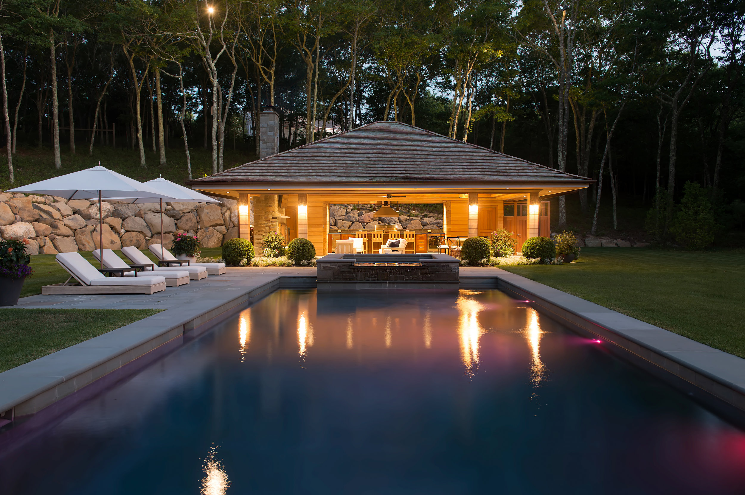 Landscape lighting provides safety and security during the nighttime hours.