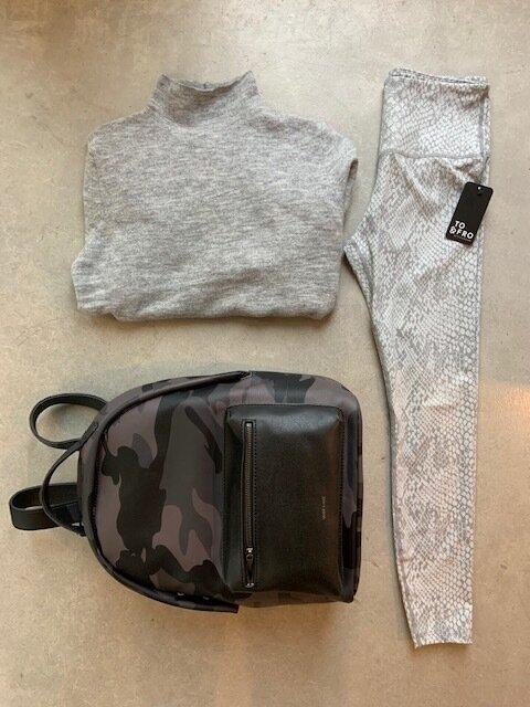 Snake skin leggings, gray sweater & camo backpack