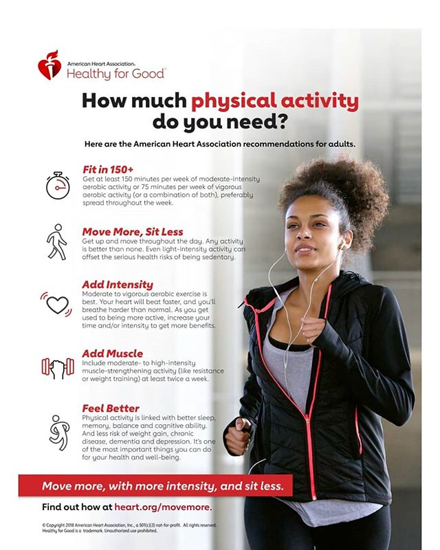 As the weather gets warmer getting physically active gets easier. Check out this cool infographic and see just how much physical activity you need!⛹️‍♀️🧗‍♀️🏋️‍♂️🚵‍♀️🤾‍♀️🏊‍♂️ . . . . . . . . . . #americanheartassociation❤️ #heart #healthyeaston #healthy #physicalactivity #sports