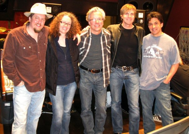 "Shawn Camp, Tamara, Radney Foster, Jack Ingram, Niko Bolas at the studio session for ""Stuff That Works"" and ""LA Freeway."""