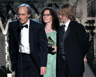 Steve Fishell, Tamara Saviano, David Macias win the Grammy for Best Traditional Folk Album for  Beautiful Dreamer: The Songs of Stephen Foster  at the 2005 Grammy Awards in Los Angeles.