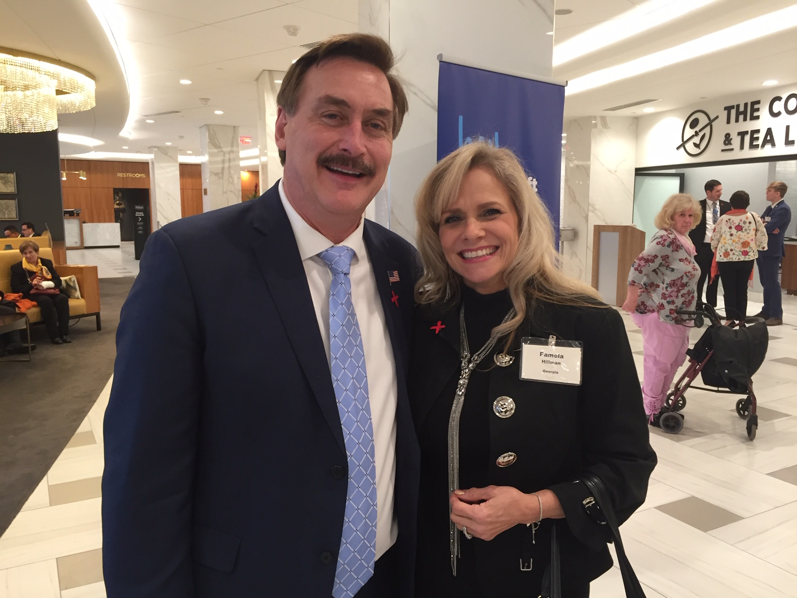 """Pamela with mike lindell, founder of mypillow - I met Mike Lindell, My Pillow Guy, in Washington, DC at the National Prayer Breakfast that my husband I attended. After hearing my story he said, """"This is one of two divine appointments I have had here. You are one of them."""" Since then we have been discussing many collaborative projects to partner. Stay tuned!"""