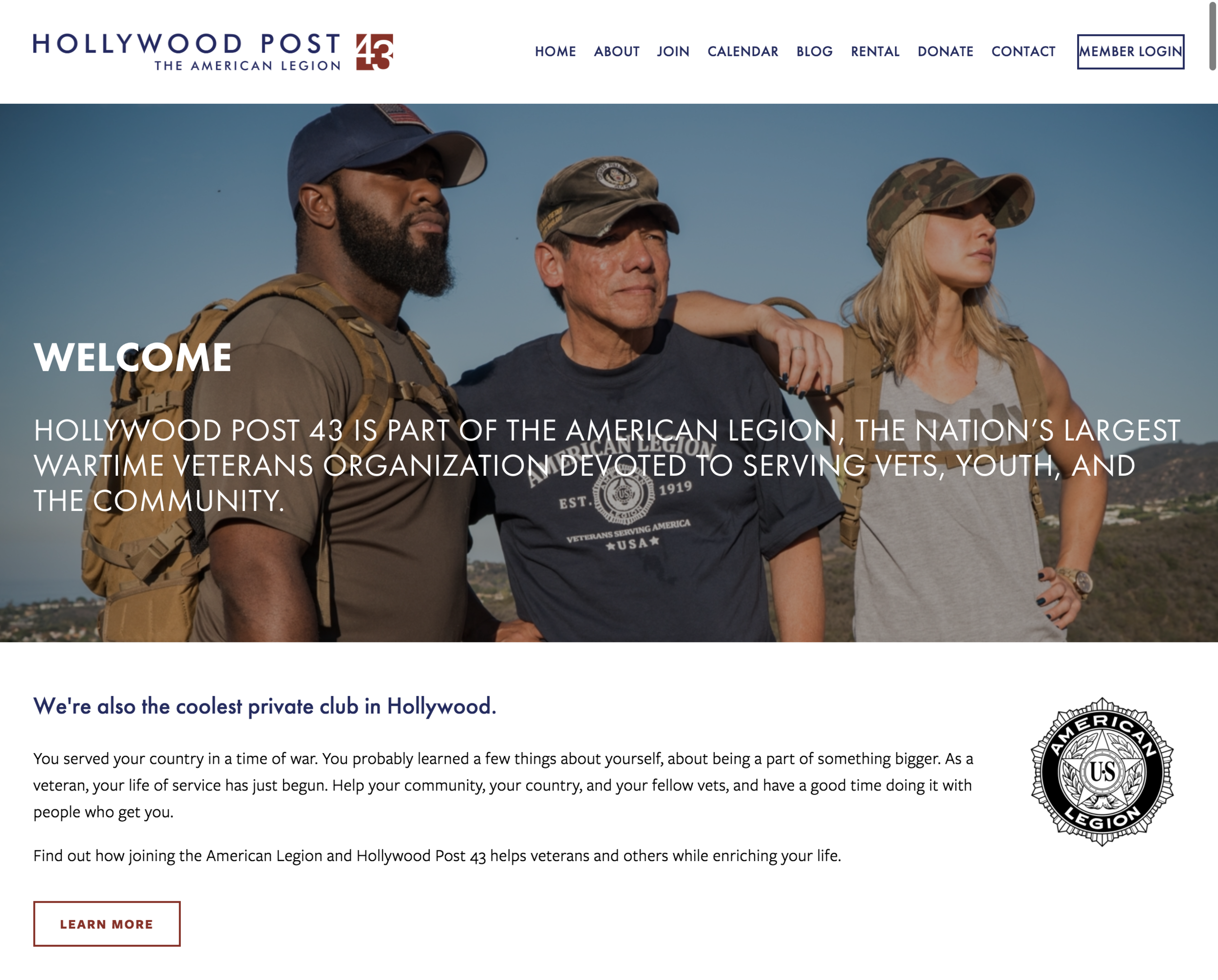 Hollywood post43 American Legion Non-Profit Website