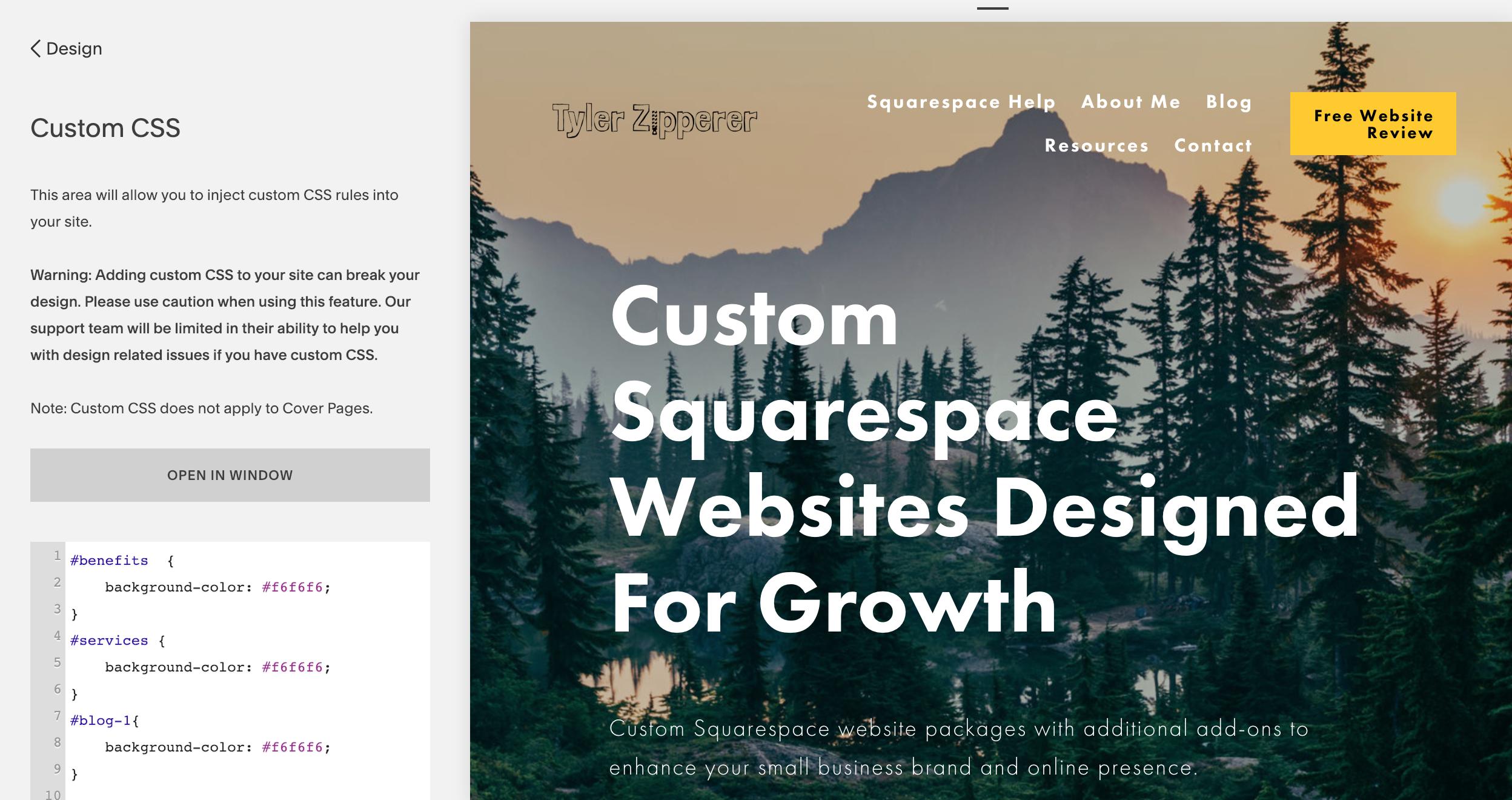 Squarespace custom CSS editor