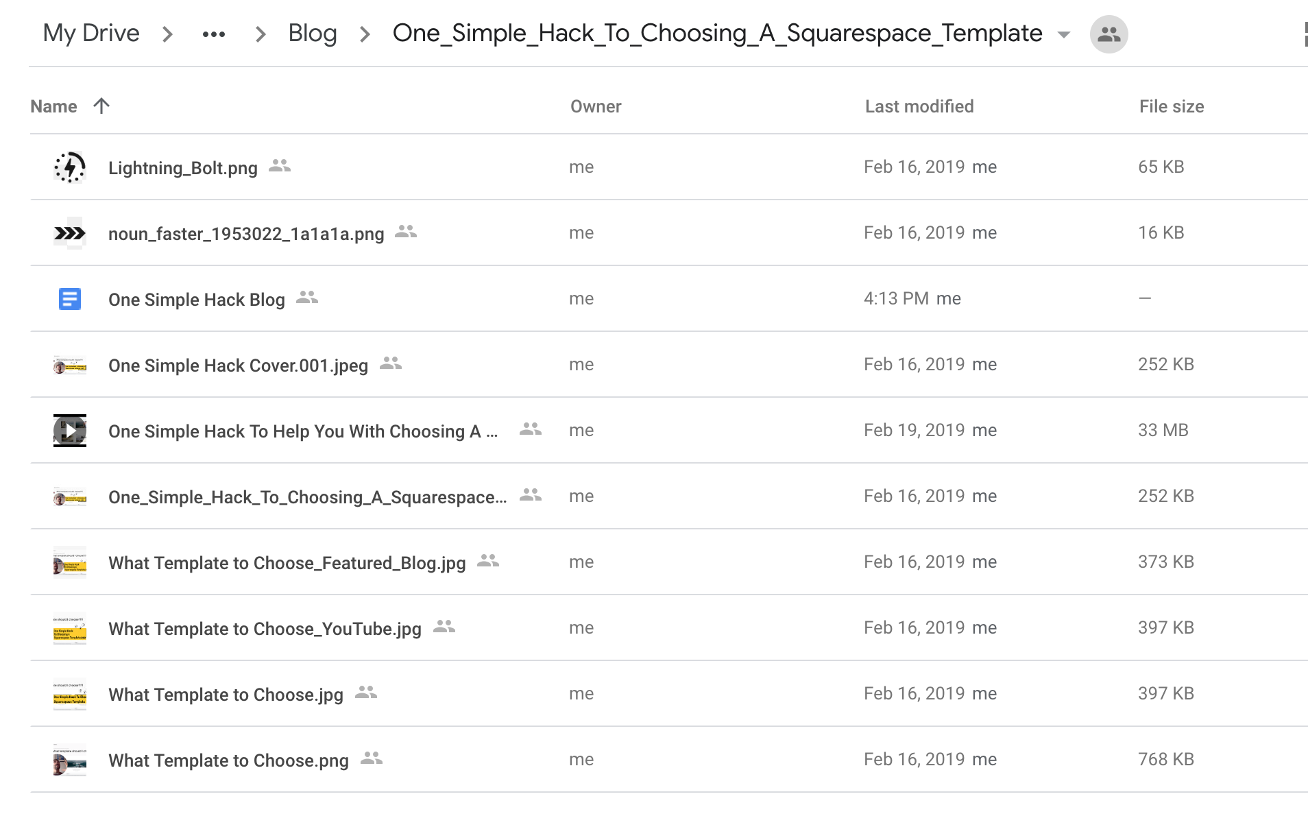 Example of a sub-folder I created for my blog post in Google Drive