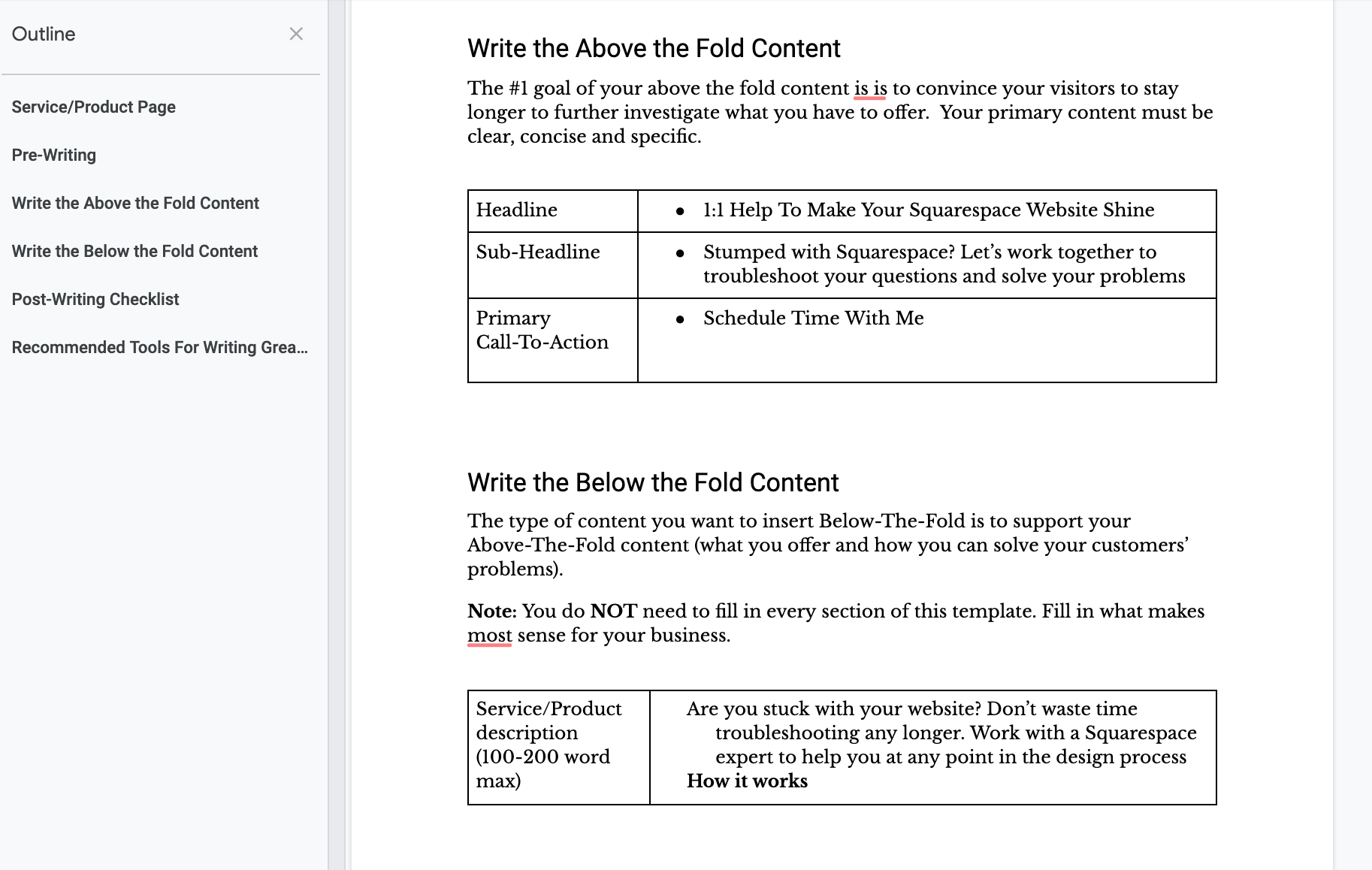 Example word doc template I use to create copy that I include in my project folders