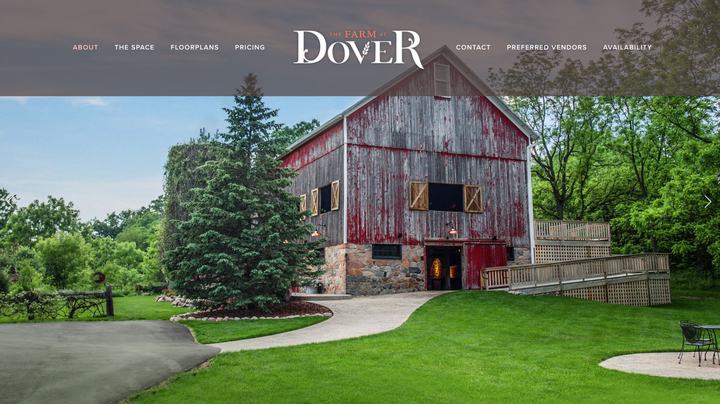 Farm at Dover one page scrolling wedding venue website