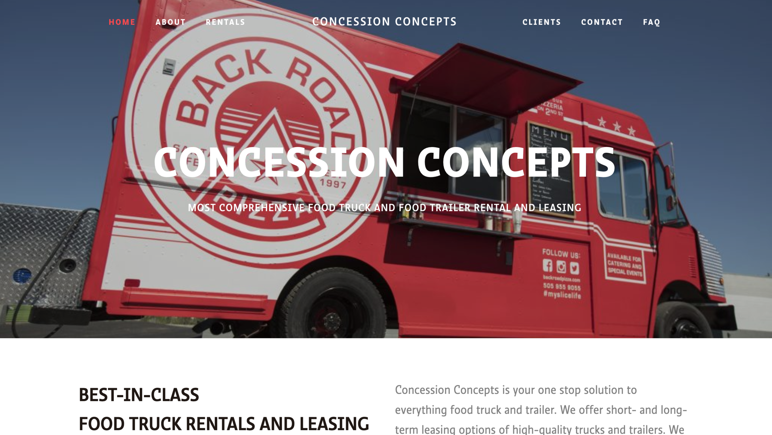 Concession Concepts one page scrolling site for food truck business