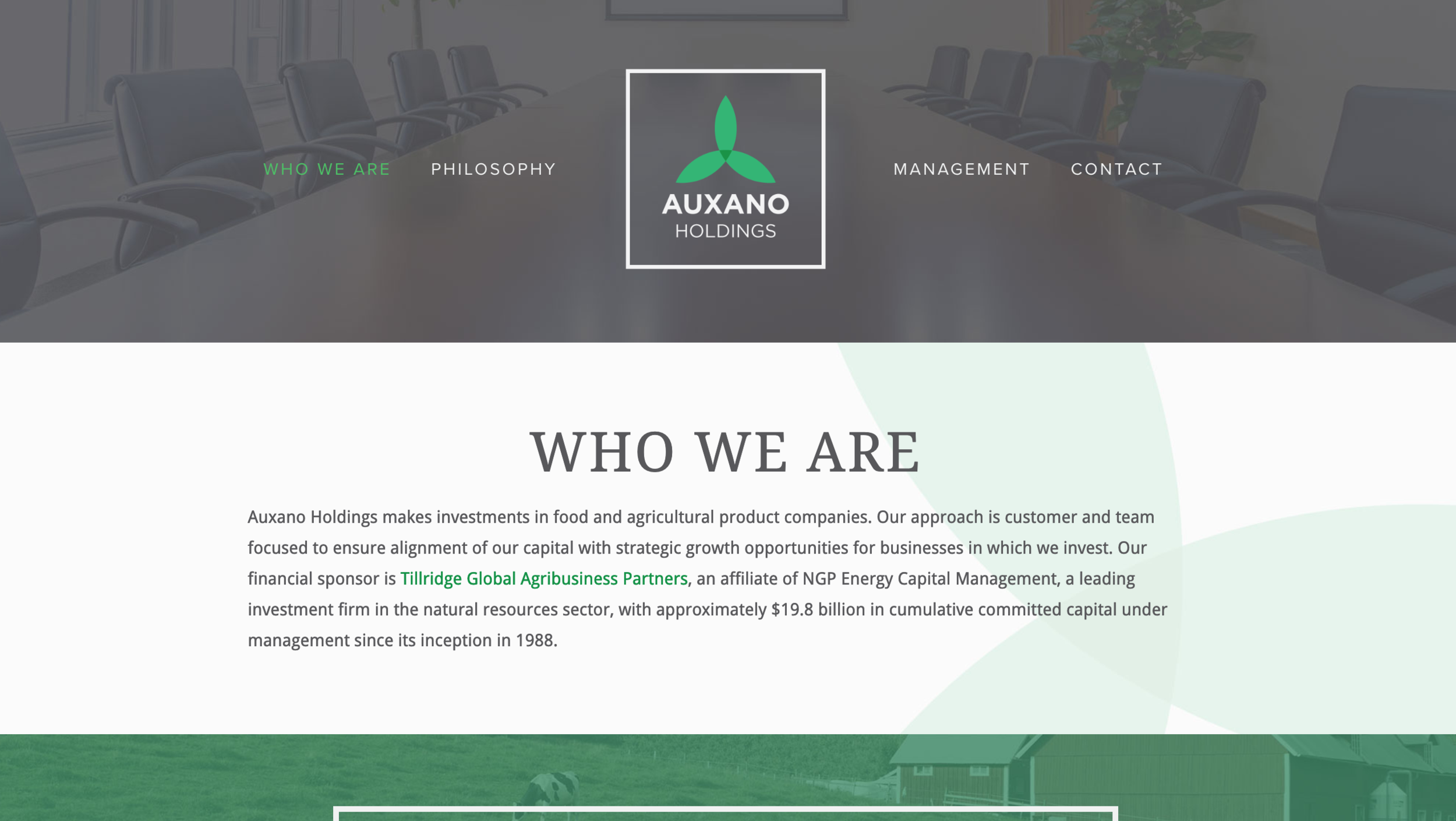 Auxano Holdings one page scrolling website for Investment Holding business