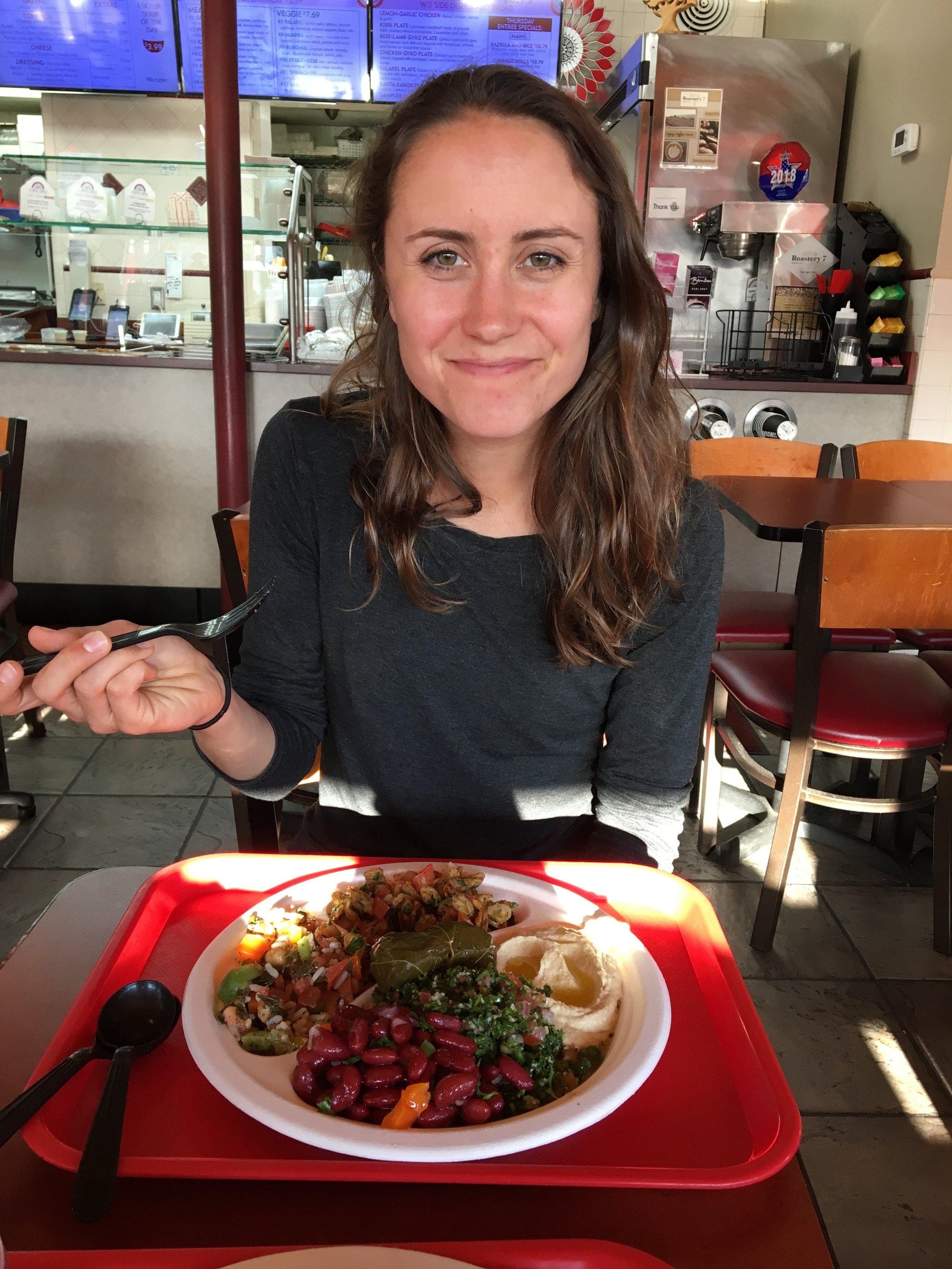 Haley and I enjoying a plate full of Mediterranean goodness from Zakia Deli