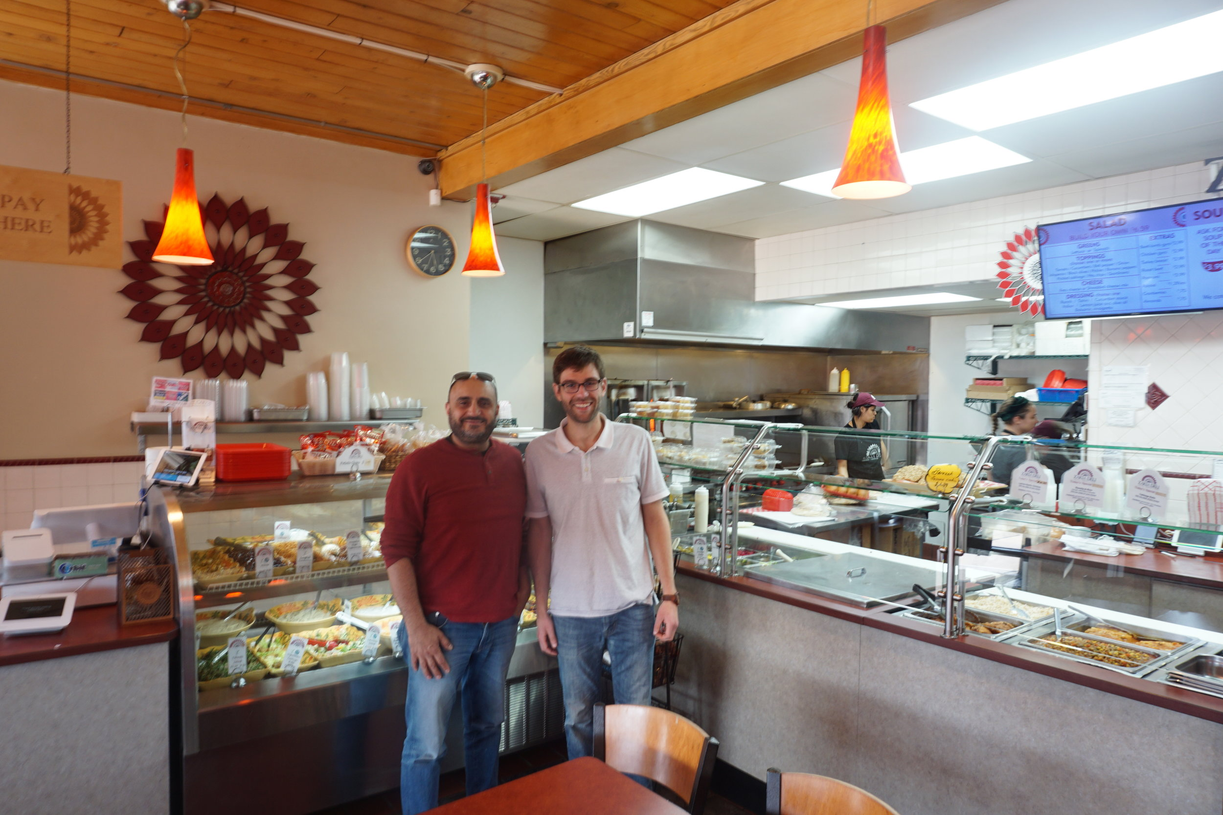 David and I with the Zaki Deli Kitchen in the background