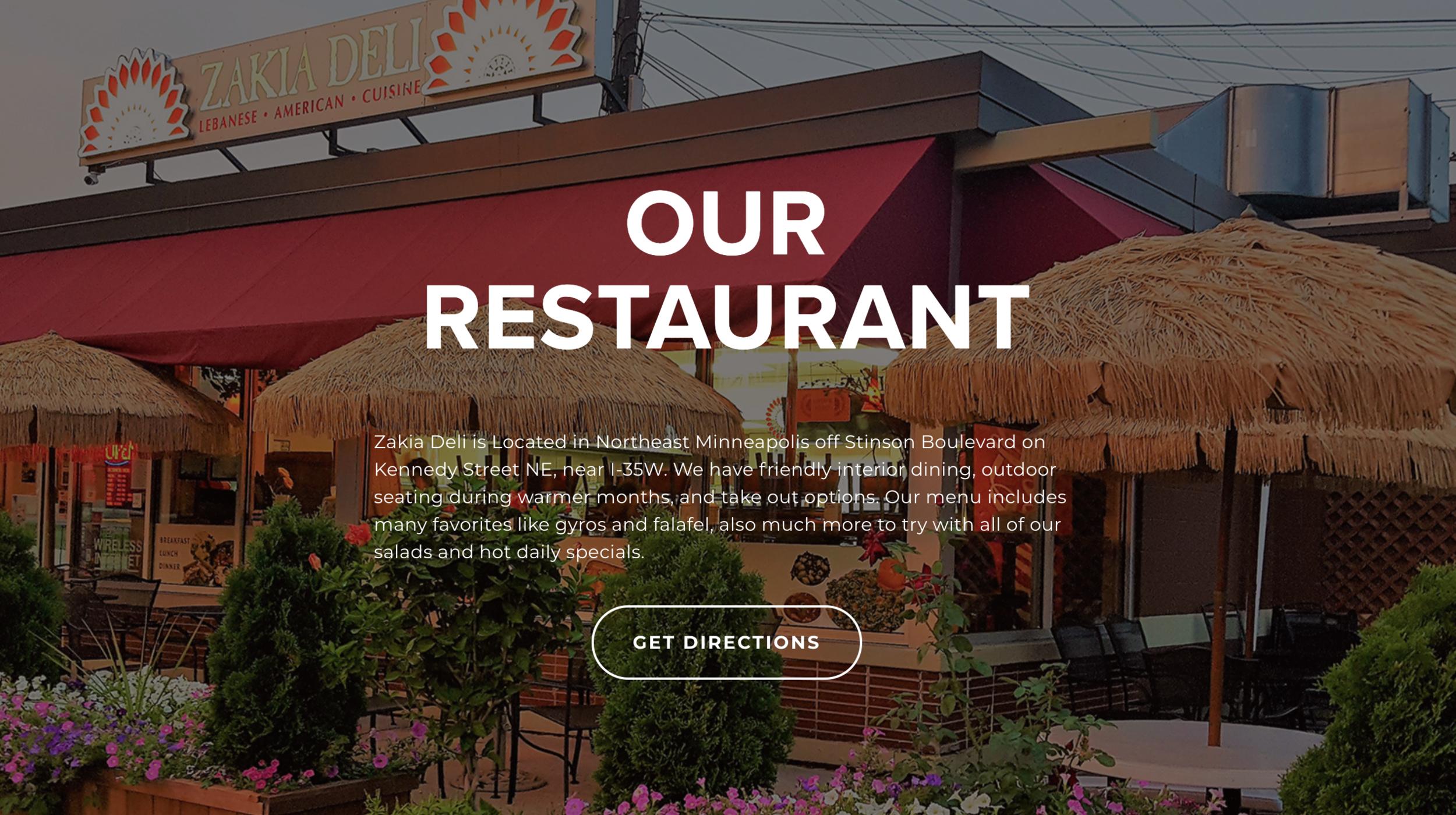 Zakia Deli Our Restaurant Section