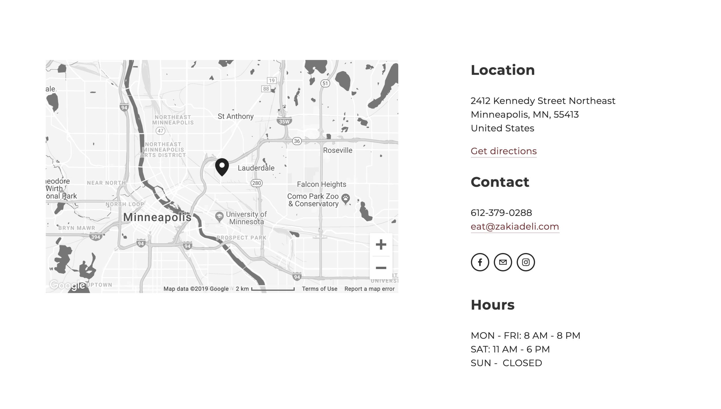 Zakia Deli Map and Location Section