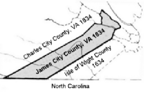 A Map of James City County in 1634. Surry County would later become a derivative of James City in 1652.