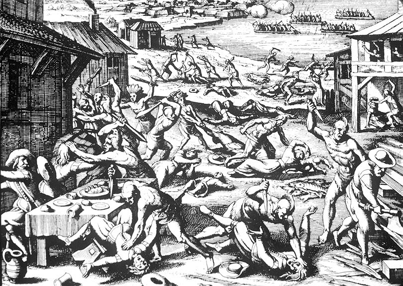 Native American massacre of 1622,  depicted as a woodcut by Matthäus Merian, 1628. Image courtesy of  Wikipedia .