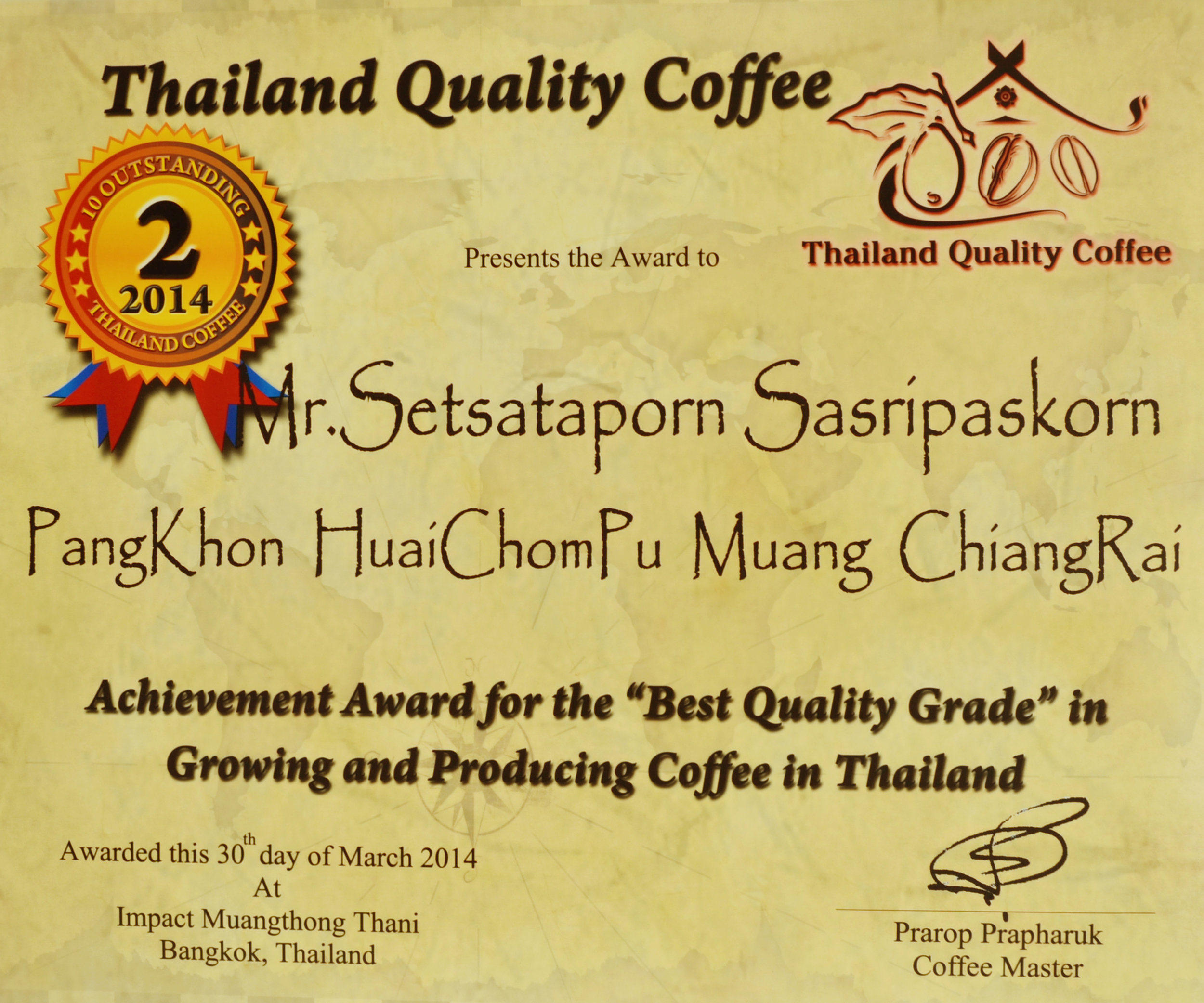 certificate - Thailand Quality Coffee