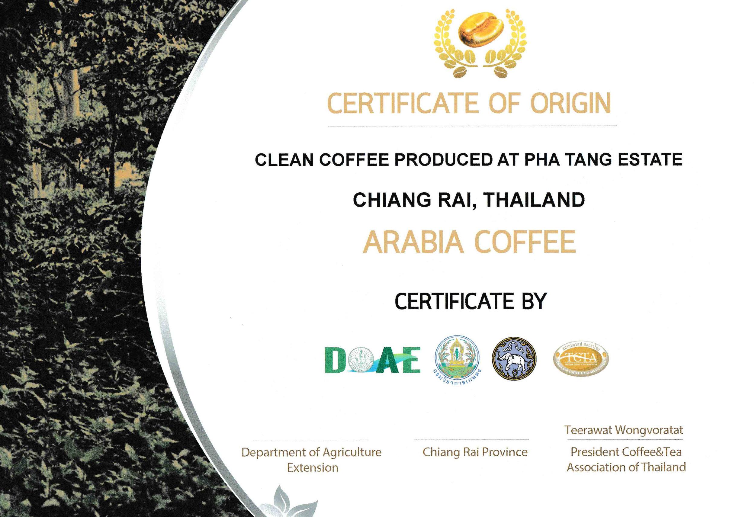 certificate of origin - CLEAN COFFEE PRODUCED AT PHA TANG ESTATE