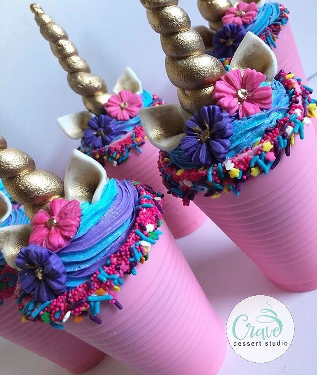 Unicorn Crave Cups 💕💕🦄🦄 two funfetti cupcakes layered with vanilla frosting inside a chocolate cup