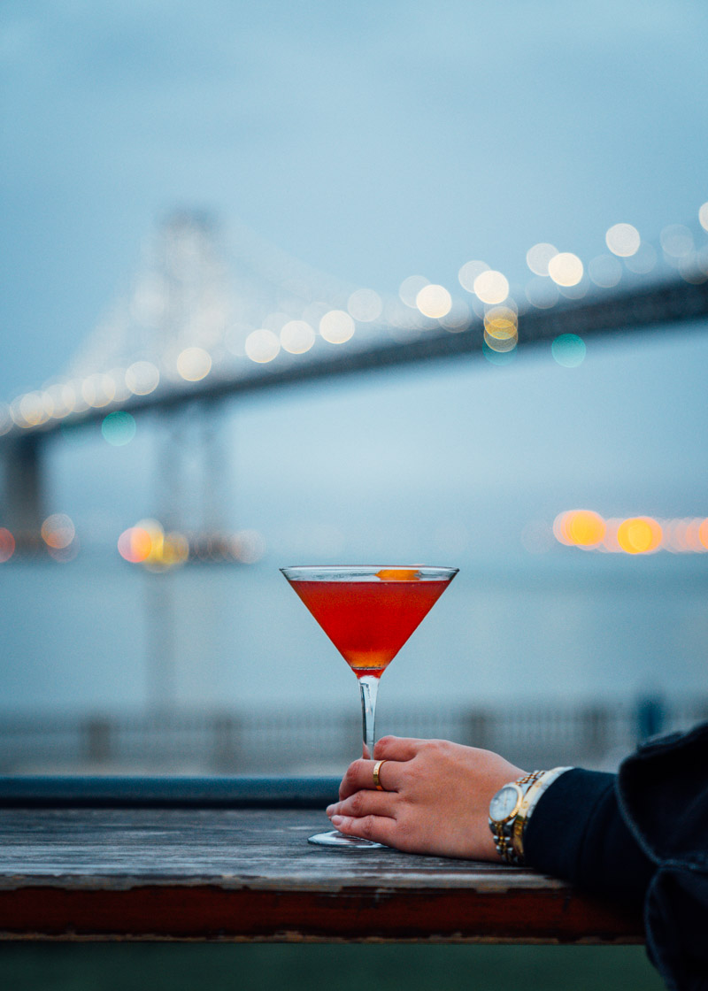 Watching the lights come up with a classic Epic Manhattan cocktail