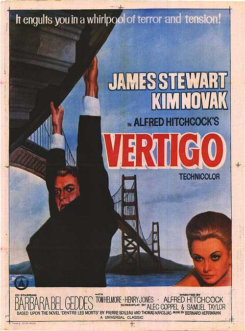 — VERTIGO   An ex-police officer who suffers from an intense fear of heights is hired to prevent an old friend's wife from committing suicide, but all is not as it seems. Hitchcock's haunting, compelling masterpiece is uniquely revelatory about the director's own predilections and hang-ups and is widely considered to be one of his masterworks.