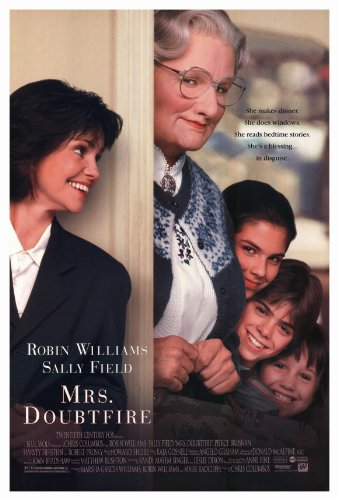 — MRS DOUBTFIRE   1993 American comedy-drama film, starring Robin Williams. It follows a recently divorced actor who dresses up as a female housekeeper to be able to interact with his children. The film addresses themes of divorce, separation, and the effect they have on a family.