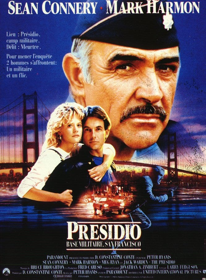— PRESIDIO   Ex-military policeman Jay Austin (Mark Harmon) is now a San Francisco detective. When his former MP partner is killed at a military base, he takes the case. But after arriving at the crime scene, he realizes he must look to his old rival, Lt. Col. Alan Caldwell (Sean Connery), for help. Austin then falls for Caldwell's daughter, Donna (Meg Ryan), further complicating matters. Still, the two men push on in their search, learning to respect one another as they pursue the killer.