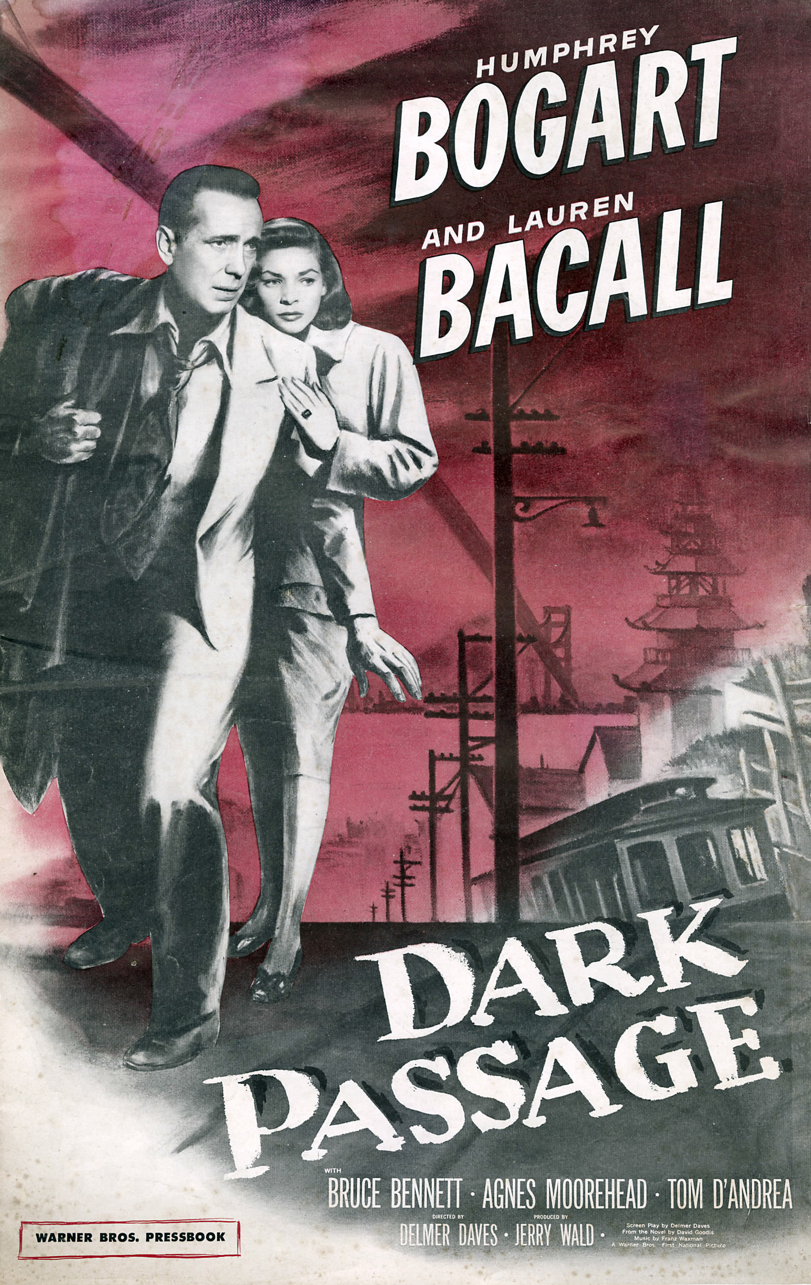 — DARK PASSAGE   Vincent Parry (Humphrey Bogart) has just escaped from prison after being locked up for a crime he did not commit -- murdering his wife. On the outside, Vincent finds that his face is betraying him, literally, so he finds a plastic surgery to give him new features. After getting a ride out of town from a stranger, Vincent crosses paths with a young woman (Lauren Bacall) who lets him stay in her apartment while he heals and continues to try and clear his name.