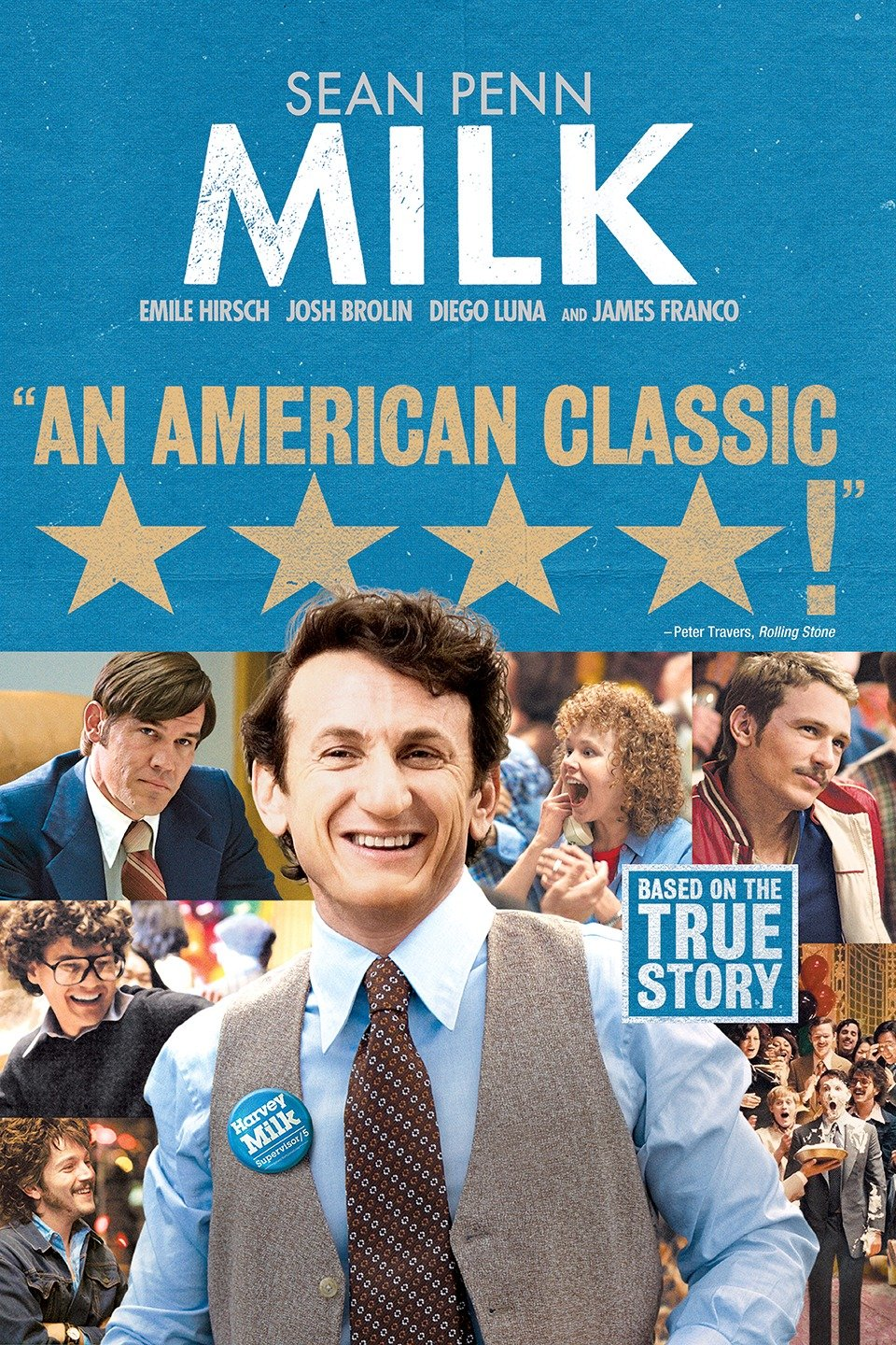— MILK   In 1972, Harvey Milk (Sean Penn) and his then-lover Scott Smith leave New York for San Francisco, with Milk determined to accomplish something meaningful in his life. Settling in the Castro District, he opens a camera shop and helps transform the area into a mecca for gays and lesbians. In 1977 he becomes the nation's first openly gay man elected to a notable public office when he wins a seat on the Board of Supervisors. The following year, Dan White (Josh Brolin) kills Milk in cold blood.