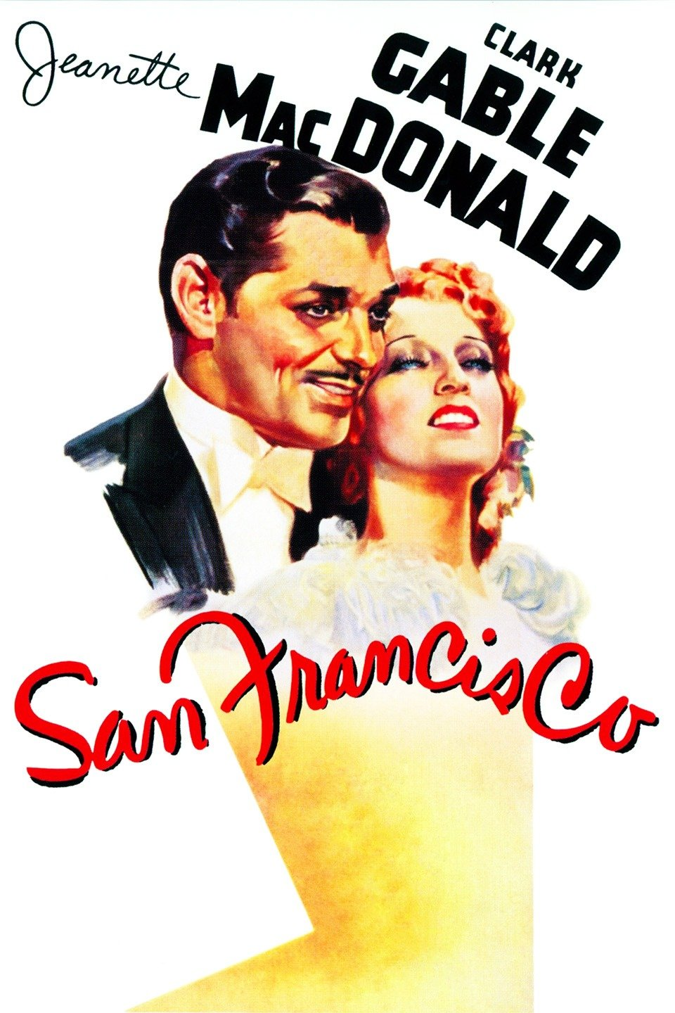 — SAN FRANCISCO   Blackie Norton (Clark Gable) is a nightclub owner who hires a down-on-her-luck singer for his club, Mary Blake (Jeanette MacDonald). The two hit it off and even become romantically involved, but soon she is courted by real-estate magnate Jack Burley (Jack Holt) to sing at the Tivoli Opera House. At first she refuses, but when she sees questionable posters of her put up by Blackie, she leaves, forcing Blackie to find a way to win her and his business back.