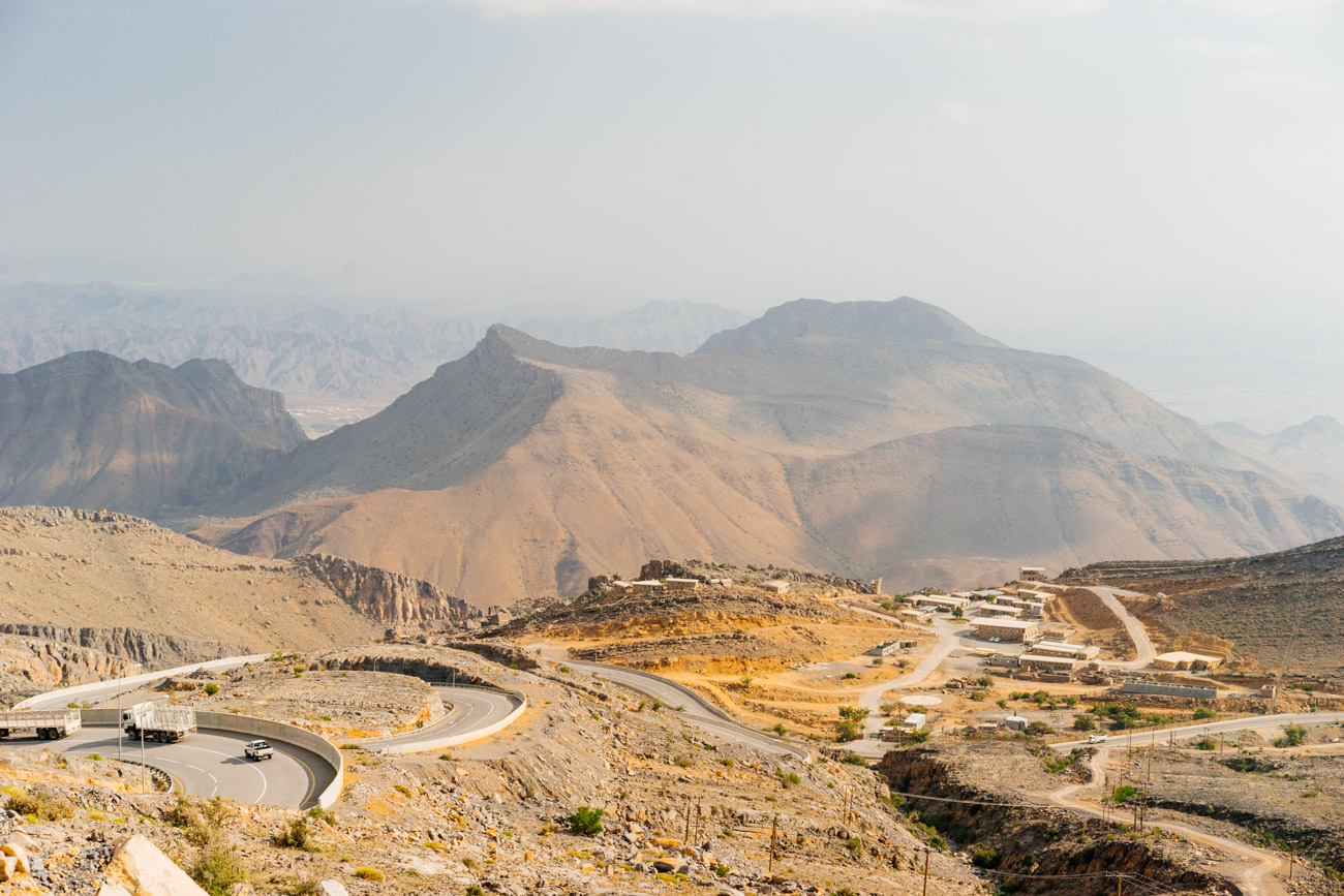On the way to the Anantara Resort, located at the top of Al Jabal Al Akhdar mountain in Oman.