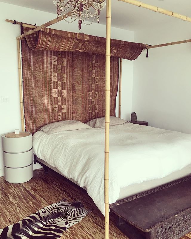 Tuareg mat from @mellah_projects doing its best headboard impersonation at the float home. Perfect texture for our home-made bamboo bed. #torontointeriordesign #interiordesign #bohodecor