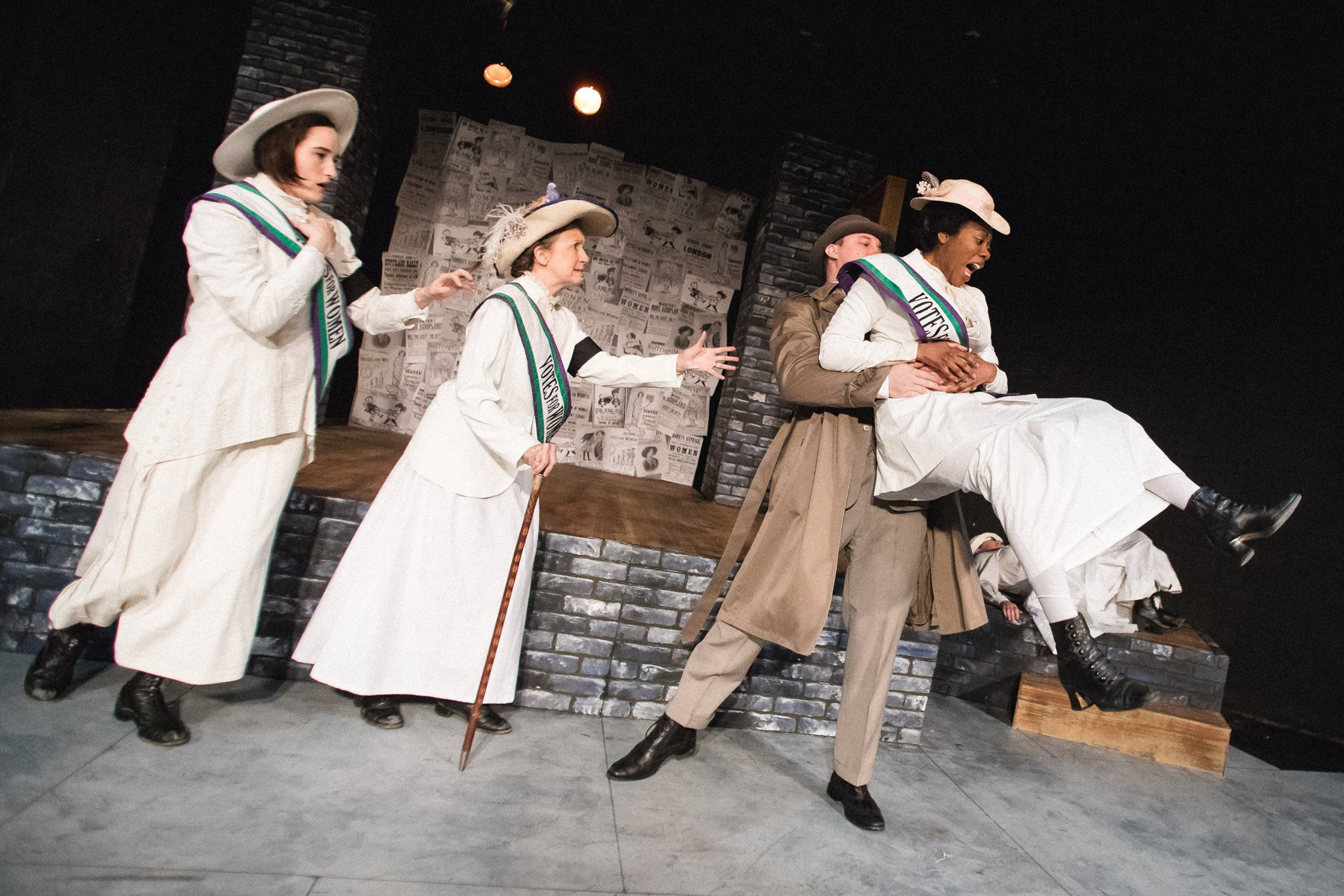 Scottie Caldwell as Gertrude, Jean Marie Koon as Emmeline Pankhurst, David Kaplinsky as the Detective, Arielle Leverett as Grace Roe