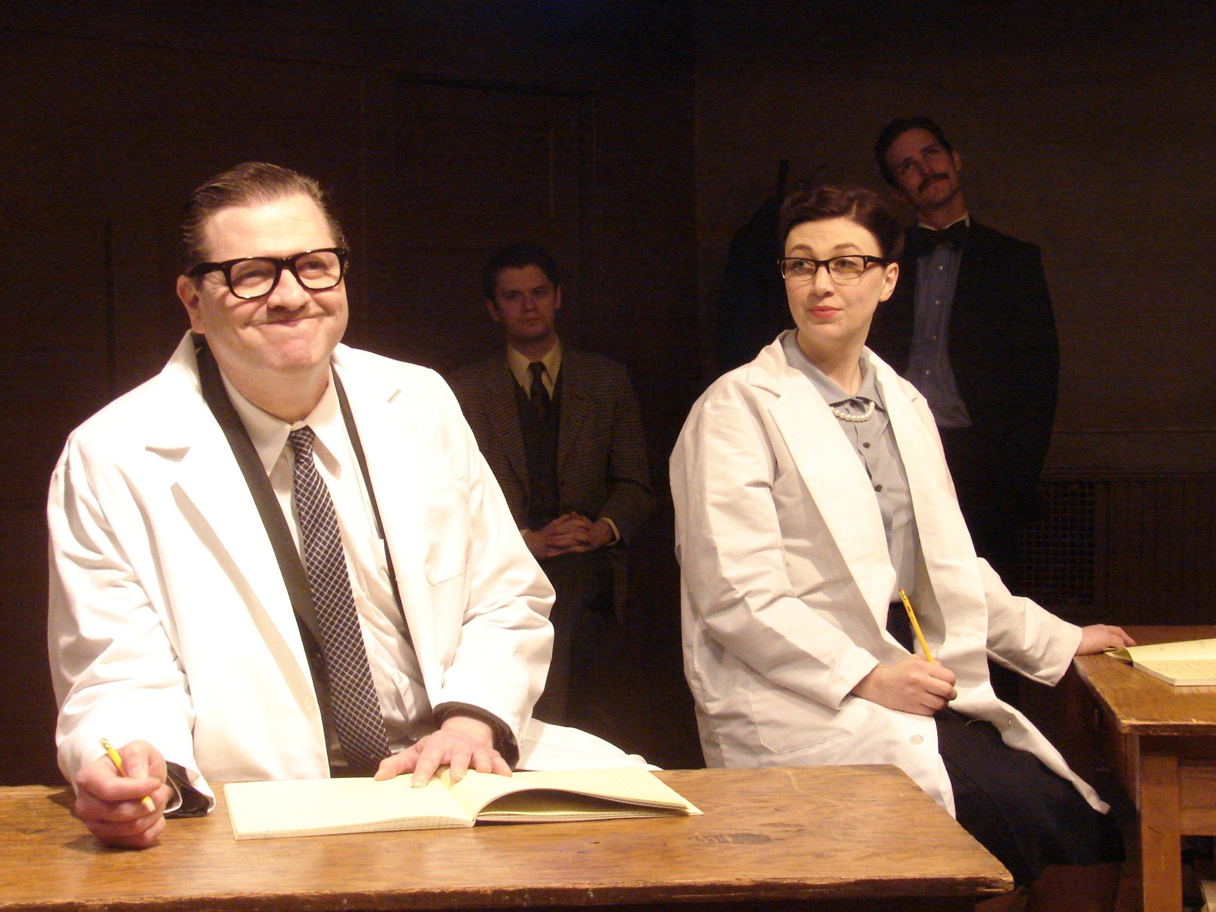 Robert Kaercher as Maurice Wilkins, Lindsey Dorcus as Rosalind Franklin