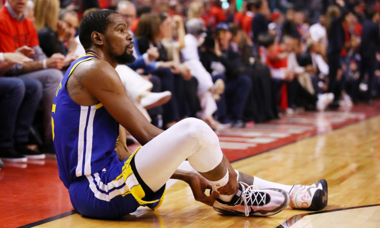 IMAGE: Gregory Shamus/Getty Images -  Kevin Durant #35 of the Golden State Warriors tore his Achilles in Game 5 of the NBA Finals.