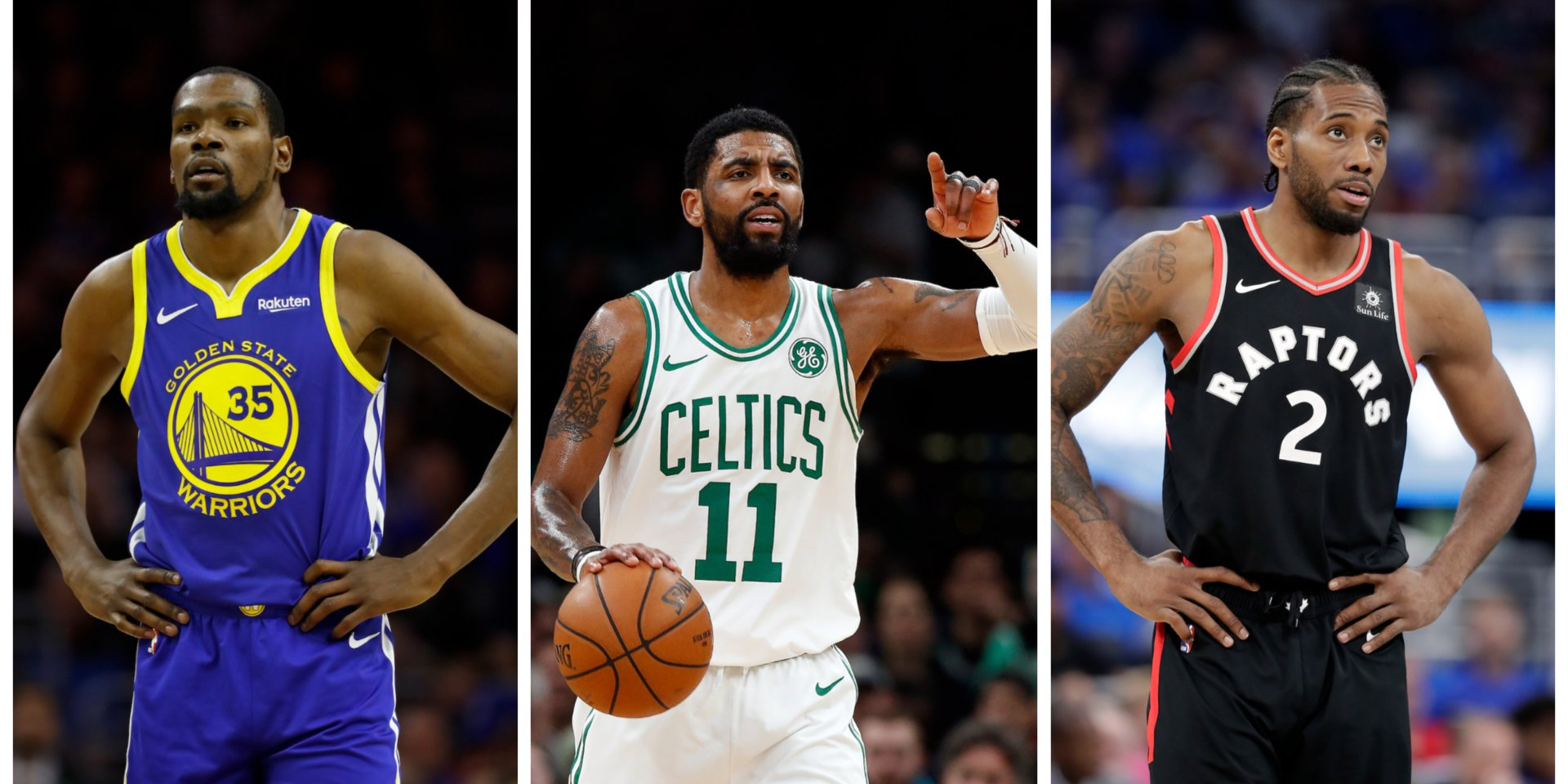 IMAGE: Matt Slocum/AP; Winslow Townson/AP; John Raoux;AP - Left to Right: Kevin Durant, Kyrie Irving, Kawhi Leonard; three of the top free agents in 2019.