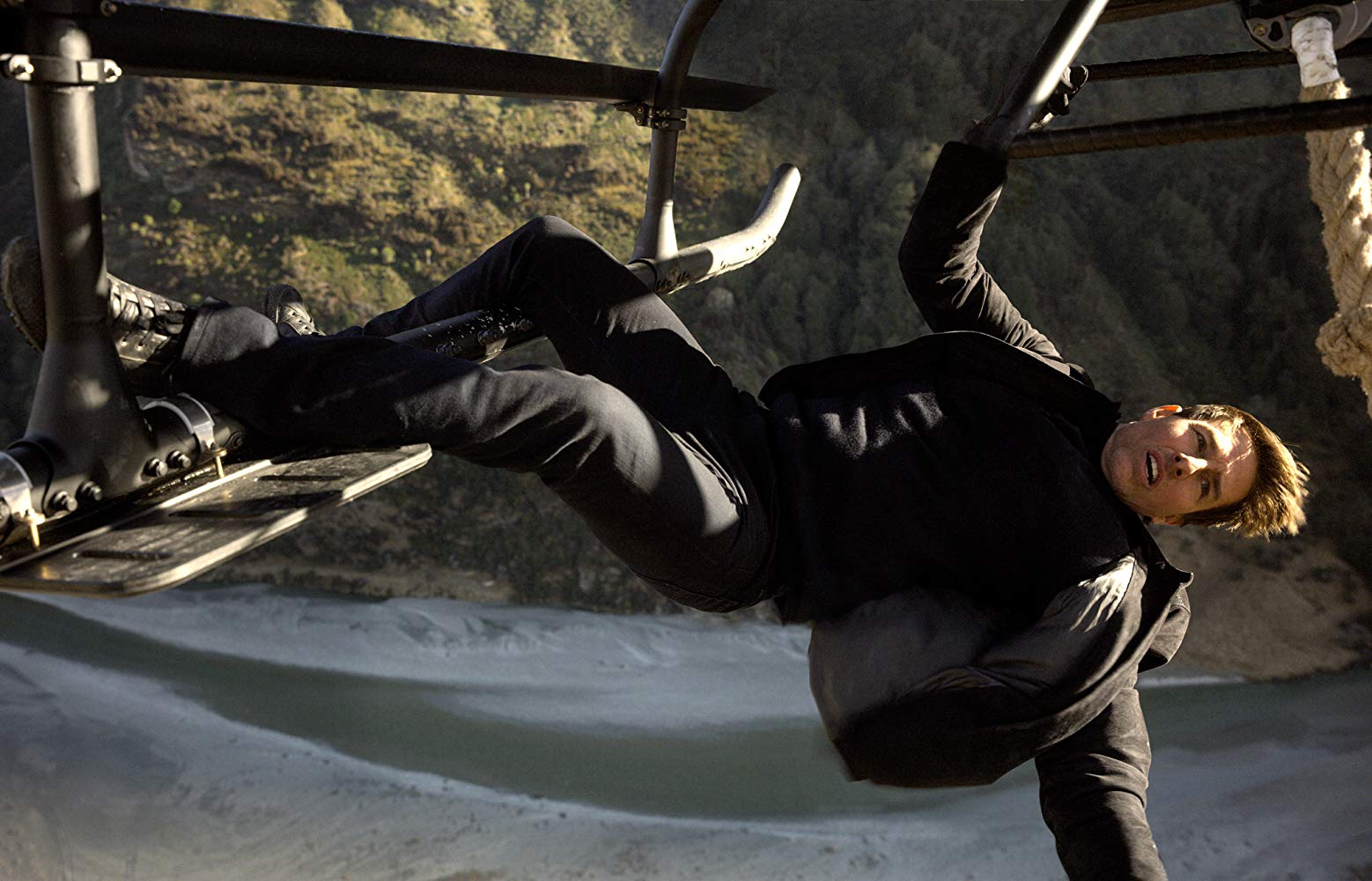 IMAGE: Paramount Pictures - Tom Cruise performing a stunt in the sixth instalment of Mission Impossible.