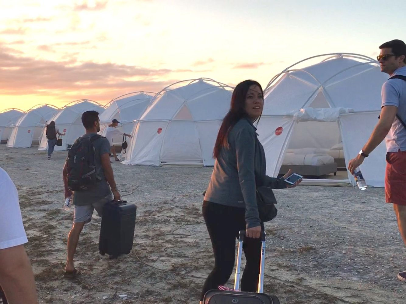 """IMAGE: NETFLIX -  The """"Next Great Act"""" was short-lived the movement festival attendees found out their luxury tents were FEMA tents."""