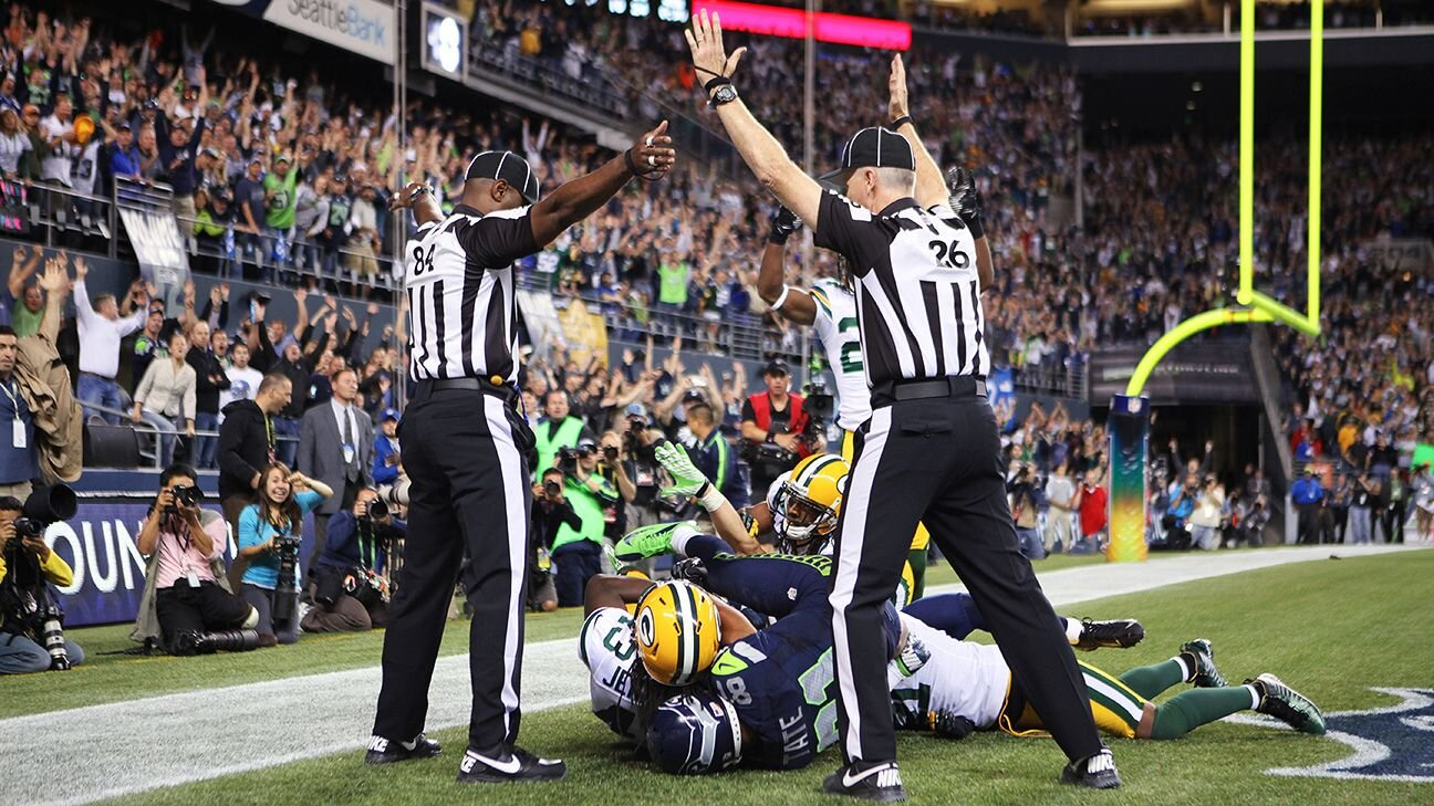 """IMAGE: Otto Greule Jr./Getty Images  - The Saints """"No Call"""" might be the worst officiating fiasco in the NFL, but the infamous """"Fail Mary"""" call in 2012 between the Green Bay Packers and Seattle Seahawks certainly is inches behind."""