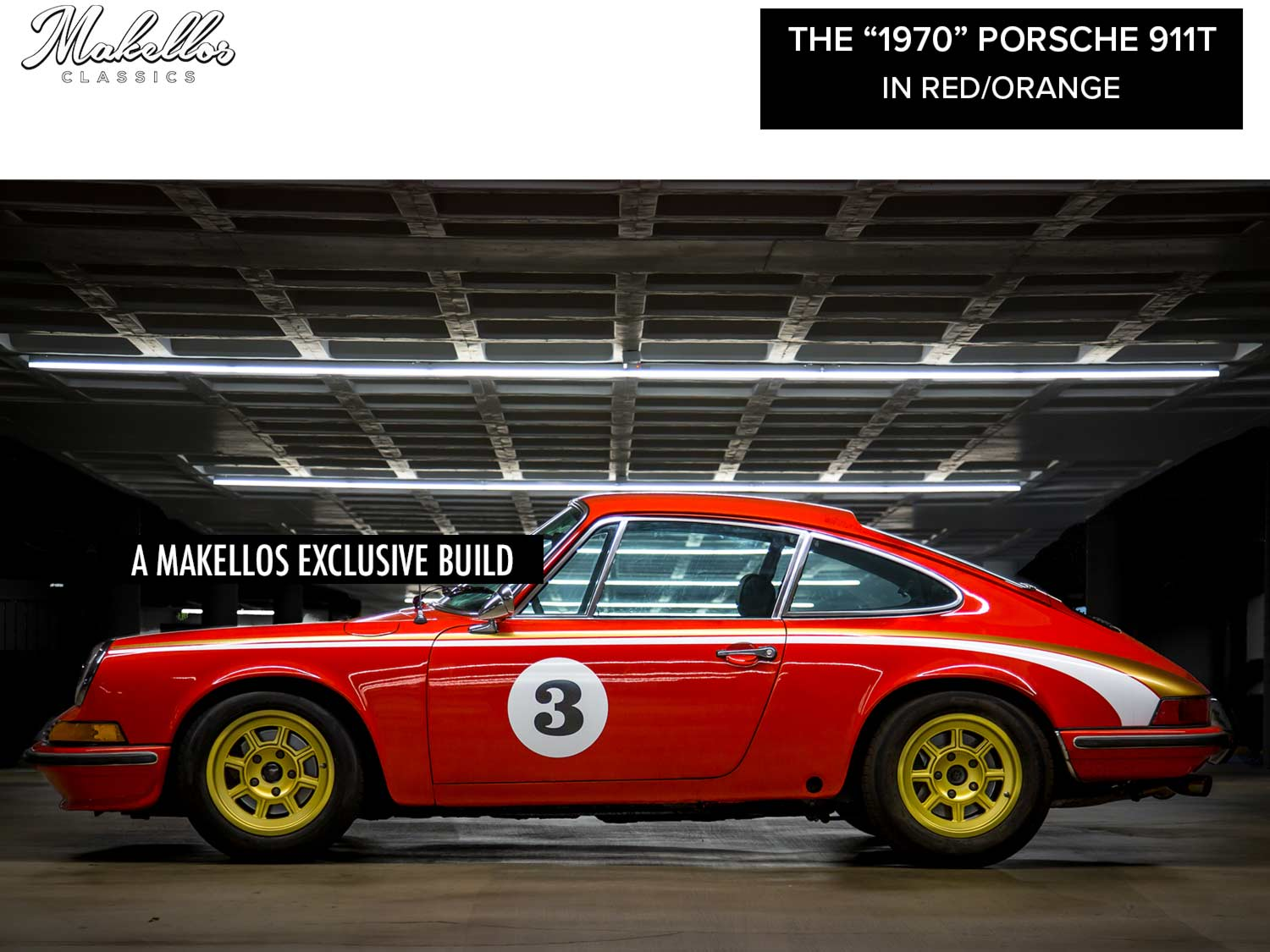 A Makellos Classics custom build and full restoration of the 1970 Porsche 911T in Orange/Red.