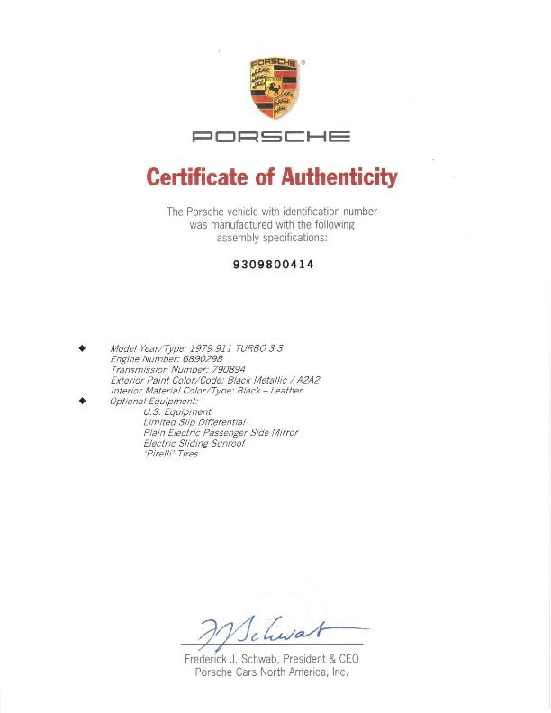 Porsche Certificate of Authenticity. 1979 Turbo in Metallic Black.