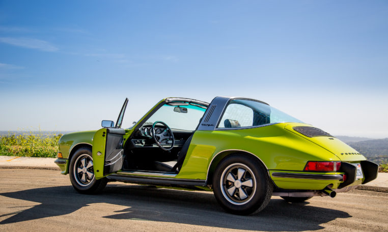 1973-porsche-911t-targa-chartreuse-makellos-classics-driver-side-door-open-top-down.jpg