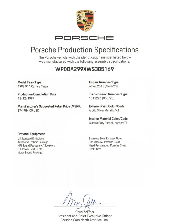 1998 porsche 993 targa certificate of authenticity makellos classics porsche dealer.png