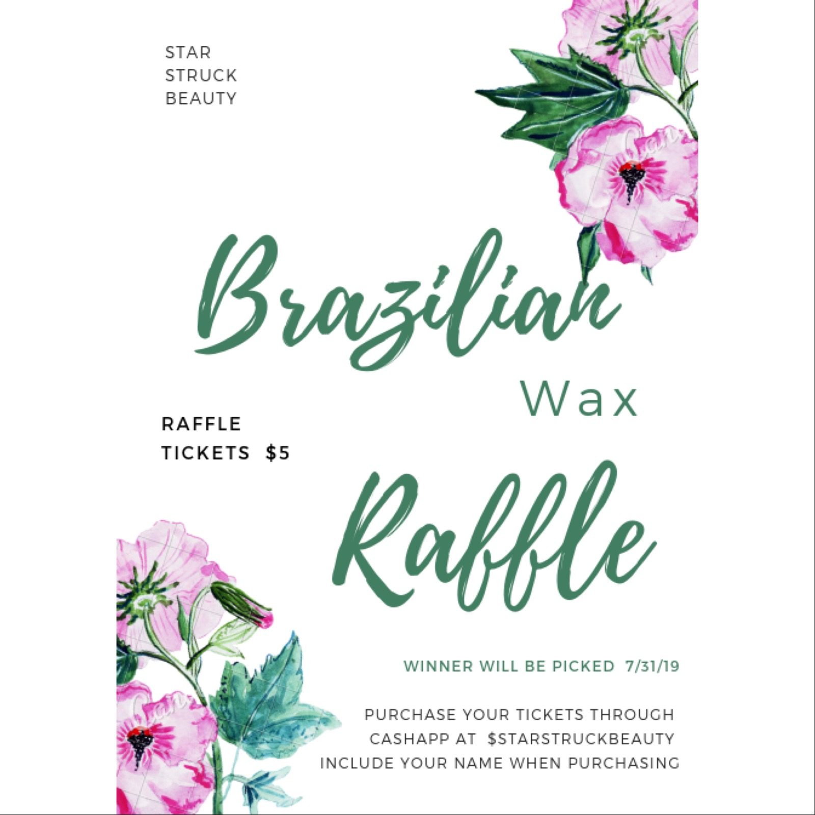 Help us welcome our new partnership with Star Struck Beauty with a FREE Brazilian Wax Raffle! In order to enter, please follow instructions on flyer!