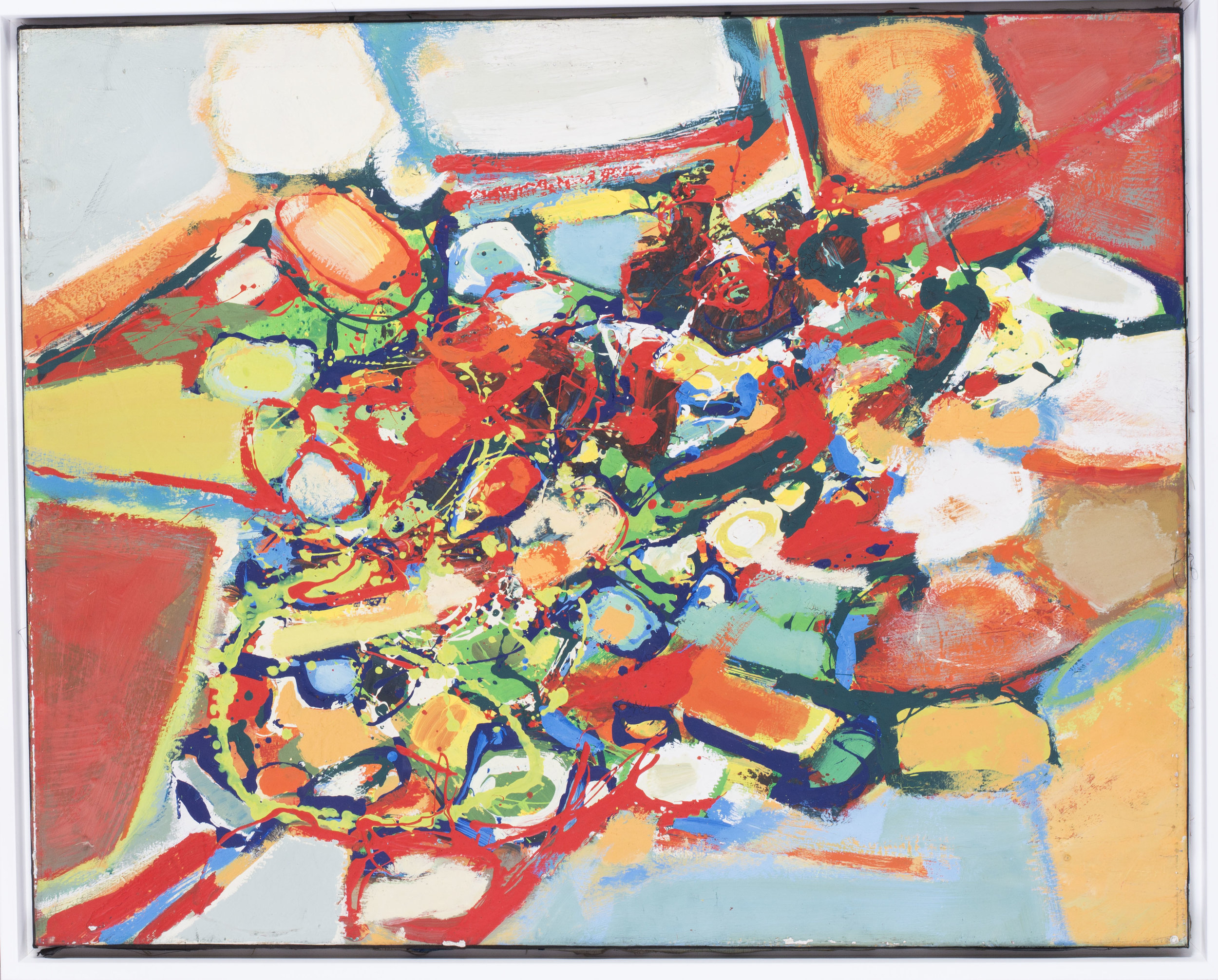 Reds, greens, blues and oranges    Acrylic on canvas  Signed J. Froment (on the reverse)  31.1/2 x 39.3/8 in. (80 x 100 cm.)   Price: £2,400